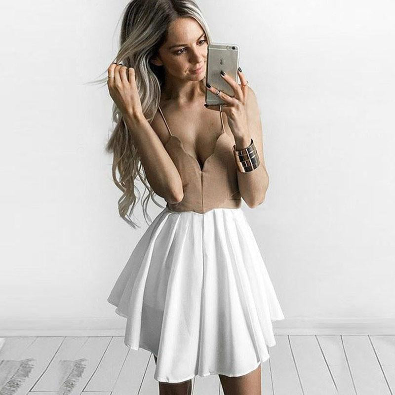 Cute A Line Spaghetti Straps V Neck Short Above Knee Homecoming Dress with Pleats H1033