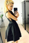 Cute Black Criss Cross Short Prom Dress Satin Above Knee Scoop Homecoming Dresses WK942