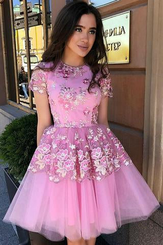 Cute Blue Floral Prints Tulle Short Sleeves A Line Homecoming Graduation Dresses WK862