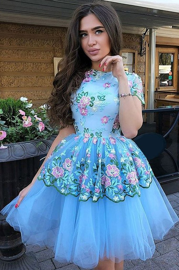 Cute Blue Floral Prints Tulle Short Sleeves A Line Homecoming Graduation Dresses PW862
