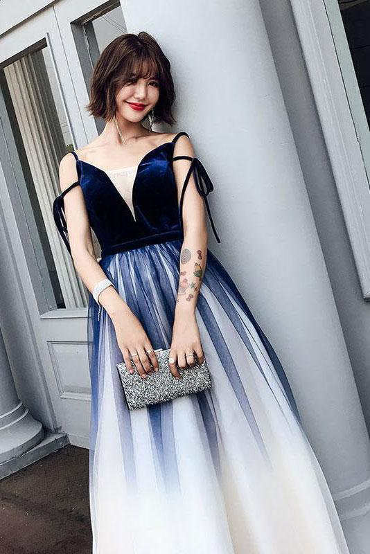 Cute Blue Ombre Long Tulle Prom Dress Unique V Neck Sleeveless Dance Dresses WK906