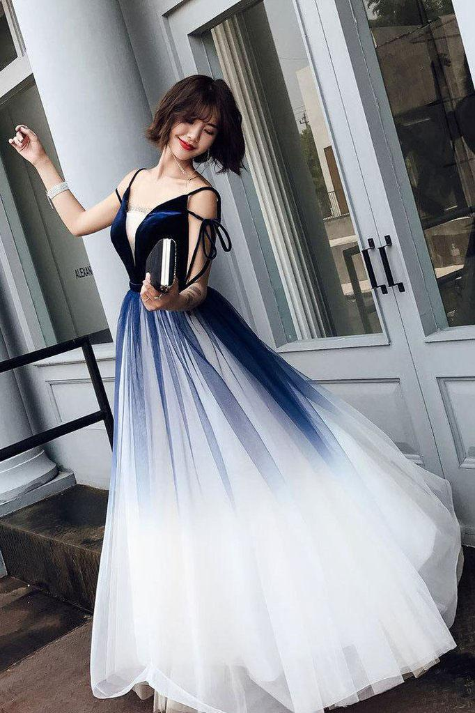 Cute Blue Ombre Long Tulle Prom Dress, Unique V Neck Sleeveless Dance Dresses PW906