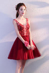 Cute Burgundy Tulle Above Knee Tulle Homecoming Dresses Lace up Belt Graduation Dress WK820