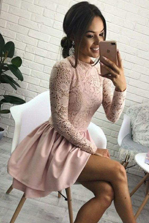 Cute Jewel Long Sleeve Short Pink Homecoming Dress with Lace Bodice Short Dress WK856