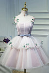 Cute Pink Spaghetti Straps Ball Gown Tulle Homecoming Dresses Short Flowers Dance Dresses H1126