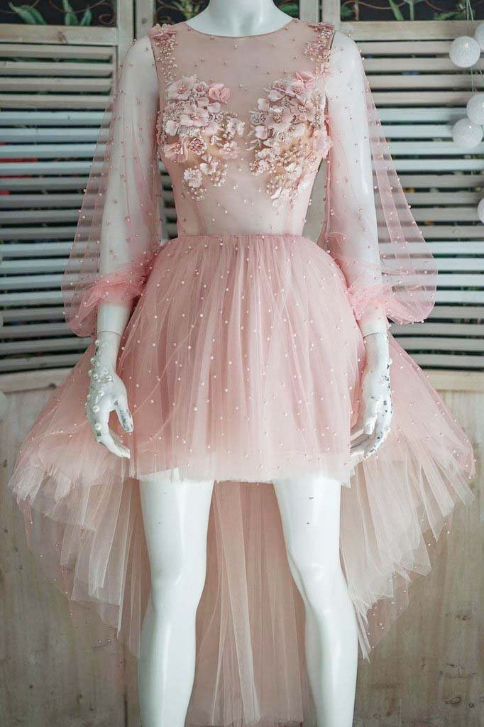 Cute Pink Tulle High Low Long Sleeve Short Prom Dress Homecoming Dresses with Flowers H1052