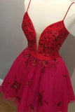 Cute Red Spaghetti Straps V Neck Tulle Beaded Short Prom Dresses Homecoming Dresses H1117