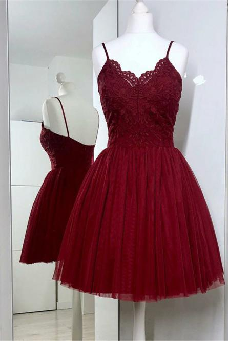 Cute Spaghetti Straps Burgundy Tulle Short Prom Dress with Lace, Homecoming Dresses PW859