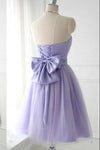 Cute Strapless Flower Lavender Chiffon Short Bridesmaid Dresses with Bow Prom Dresses WK962