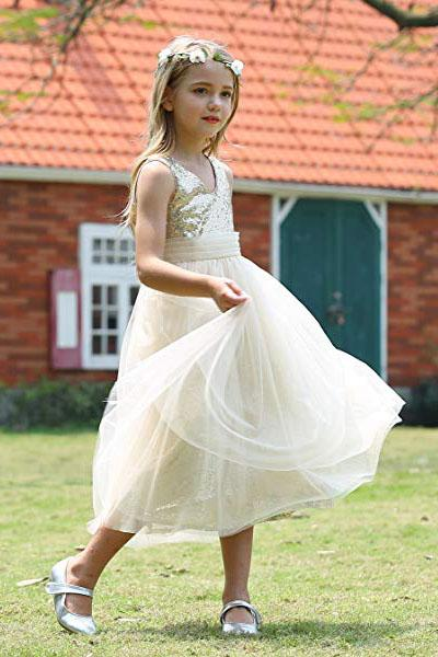 Cute Sweetheart Sequins Empire Tulle Straps Flower Girl Dresses Child Dresses FG1004