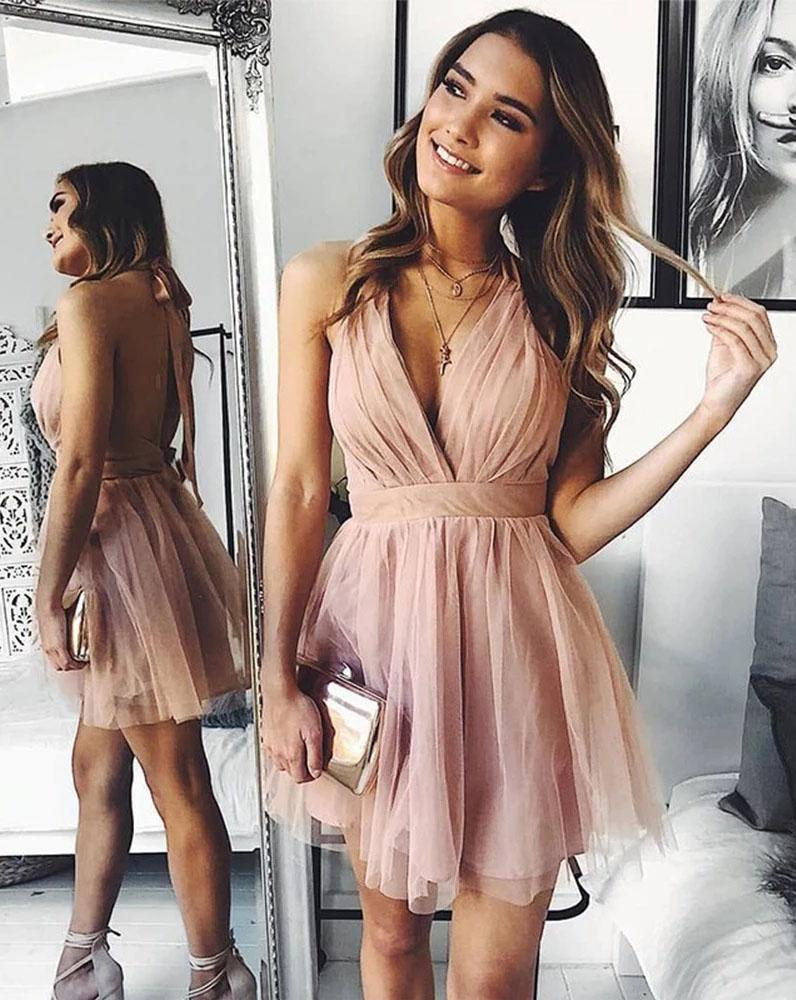 Cute V Neck Above Knee Pink Ruffles Tulle Short Prom Dresses Homecoming Dresses H1113