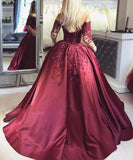 2020 Dark Red Lace Long Sleeve Prom Dress Off-the-Shoulder Ball Gown Quinceanera Dress WK392