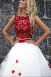 A-Line Applique White Light Long Bateau Sleeveless Two Piece lace Prom Dresses WK391