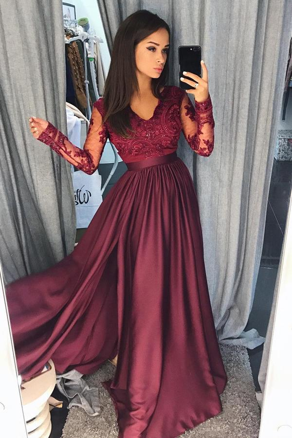 Charming Burgundy Satin Long Sleeves A-line Lace Long Prom Dresses Evening Dresses WK557