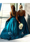 Mismatched Deep V-Neck Bridesmaid Dress Long Cheap Bridesmaid Gown WK586