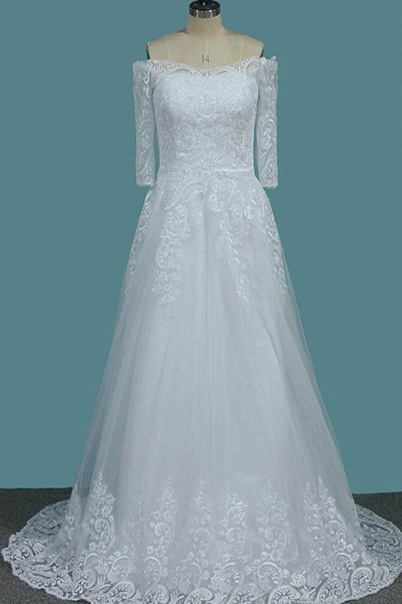 A Line White Off the Shoulder Half Sleeves Lace Appliques Tulle Wedding Dresses WK817