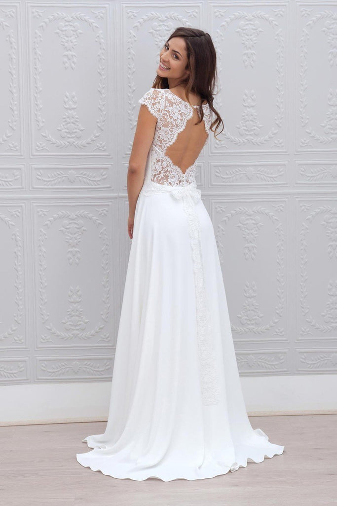 A Line Chiffon White Lace Appliques Cap Sleeve Open Back Scoop Long Wedding Dresses WK24