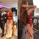 A-Line Two pieces Red Lace Tulle High Neck Cap Sleeve Applique Junior Elegant Prom Dresses WK241