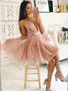 Deep V Neck Pink Lace Spaghetti Straps Ruffles Homecoming Dresses Short Prom Dress H1279