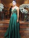 Deep V Neck Spaghetti Straps Green Beaded Prom Dresses Long Evening Dresses WK625