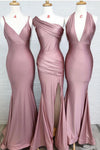 Dusty Rose Mermaid V Neck Split Side Long Evening Gowns Bridesmaid Dresses WK987