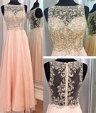 A-Line Blush Pink Sexy Chiffon Cheap Scoop Sleeveless Beads Zipper Prom Dresses WK970