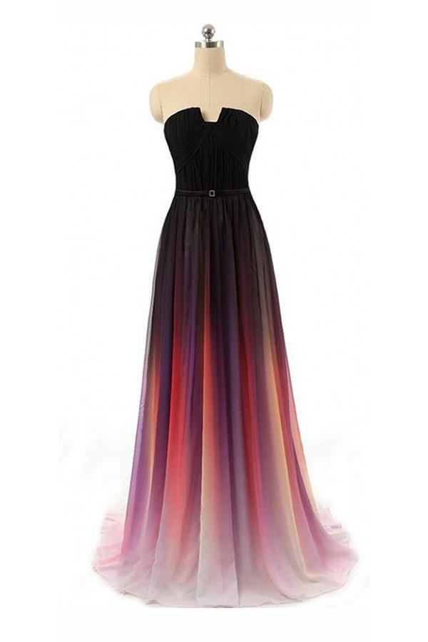 Long Sexy Gradient Ombre Sleeveless Black Navy Blue Chiffon A-Line Prom Dresses WK161