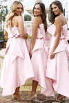A Line Unique Strapless High Low Pink Satin Bridesmaid Dresses with Bowknot WK14