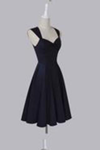 Simple Sweetheart Sleeveless Tea-Length Ruched Dark Navy Taffeta Homecoming Dresses WK459