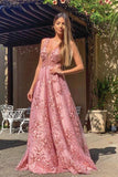 Elegant A Line Pink Lace Appliques Round Neck Straps Prom Dresses Long Formal Dress P1132