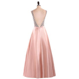 Elegant A Line V Neck Beading Prom Dresses Straps Satin Evening Dresses WK496