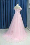 Elegant A line Pink Tulle Prom Dresses with Flowers Off the Shoulder Belt Evening Dress WK749