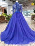 Elegant Blue Tulle Deep V Neck Long Sleeve Beads Ball Gown Prom Dresses with Lace up WK786
