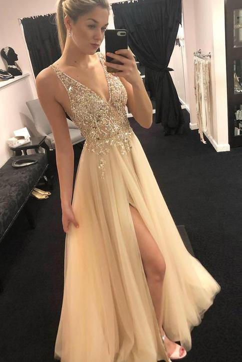 Elegant Tulle Beads Straps Prom Dresses with Split Long Cheap Evening Dresses WK782