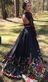 Two Piece Lace Floral Print Black Sexy Open Back Long Sleeve High Neck Prom Dresses WK56