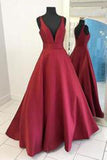 2020 Sexy Burgundy Red Long V Neck Red Evening Dress Simple Prom Dresses WK749