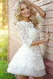 2020 Popular Half Sleeve Lace See Through Cute Homecoming Short Prom Dress WK86