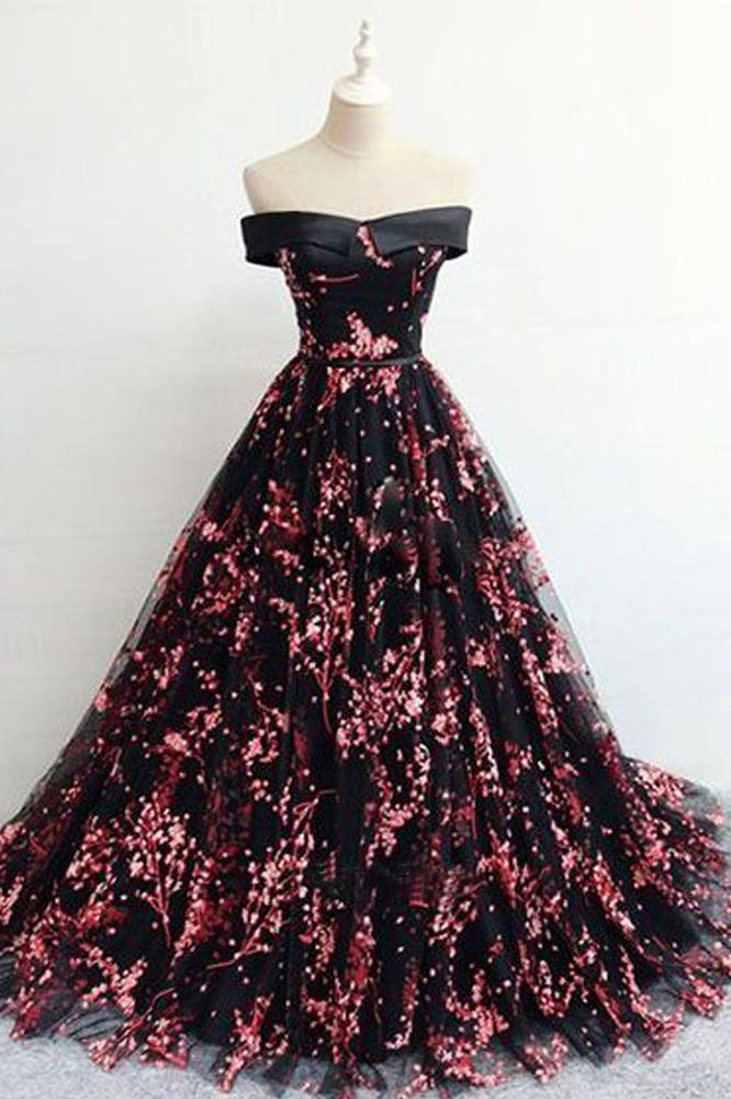 Floral Print Black Off the Shoulder Lace Appliques Prom Dresses with Lace up PW695