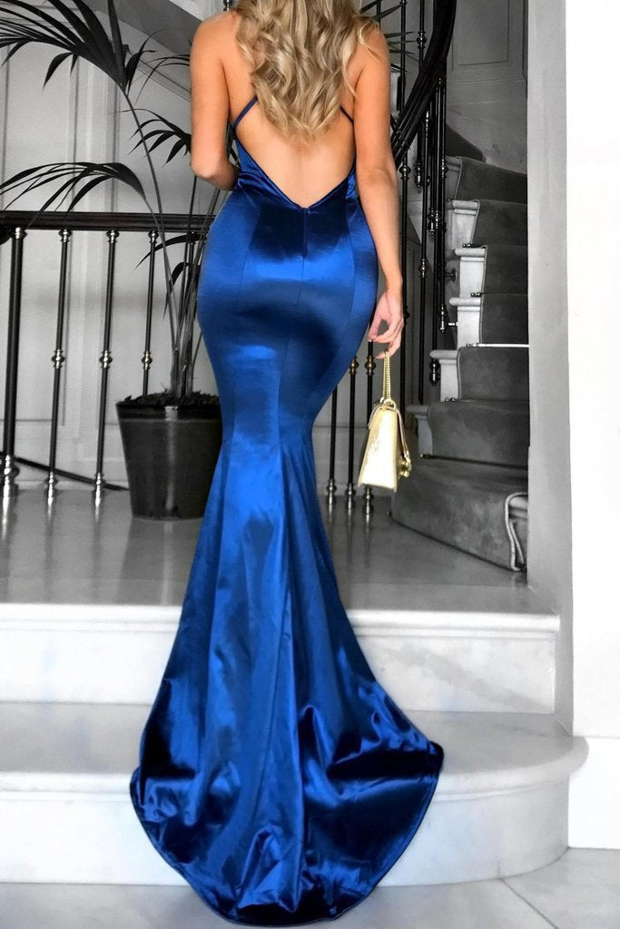 2020 Navy Blue New Mermaid V Neck Shirt Dress Long Criss-Cross Sexy Prom Dreses WK626