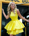 Cute A Line Round Neck Yellow Open Back Satin Sleeveless Short Homecoming Dresses WK949