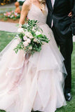 Ball Gown Spaghetti Straps V Neck Backless Asymmetrical Pink Long Wedding Dresses WK197