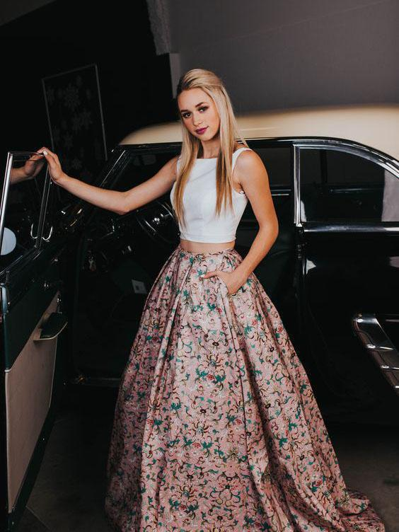 A Line Two Piece Floral Print Beautiful Prom Dresses with Pockets Evening Dresses WK322