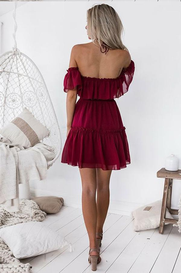 Chic Halter Backless Burgundy Chiffon Off the Shoulder Homecoming Dress with Ruffles WK678