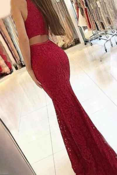 Charming New Arrival Mermaid Round Neck Dark Red Lace Prom Dresses WK385
