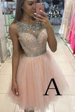 Cute Round Neck Pink Tulle Short Prom/Homecoming Dress with Beading WK95