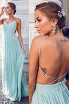 Charming Green Chiffon Backless Sexy Sweetheart Prom Dress Long Evening Dresses WK975