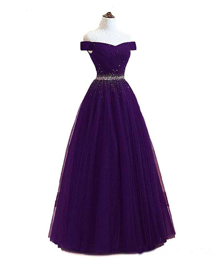 A Line Burgundy Off the Shoulder Lace up Tulle Sweetheart Long Prom Dresses WK141
