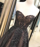 Black Sweetheart Tulle Lace Strapless Beads Prom Dresses with Lace up Evening Dresses WK976
