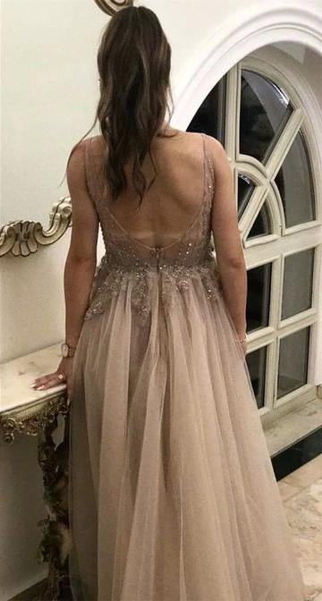 A Line V Neck Tulle Lace Appliques Backless Brown Sleeveless Prom Dresses WK83
