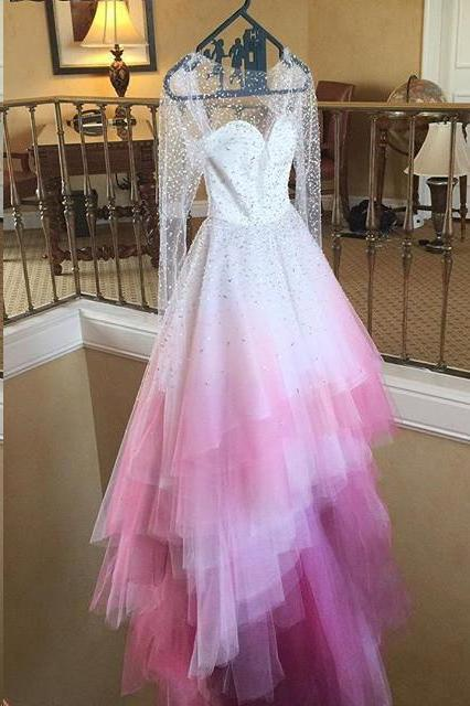 Chic A Line Sweetheart High Low Ombre Organza Long Sleeve V Back Wedding Dress WK324